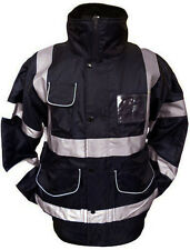 High Vis Security Waterproof Black Bomber Jacket Safety Hi Viz Work Wear Coat
