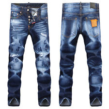 New Men Italy Style Fashion Distressed Ripped Washed Torn JEANS 1304T Size 28-36