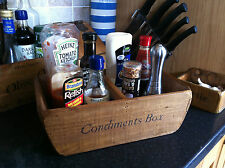 (NEW)OLD COUNTRY CONDIMENTS TRAY/BOX ~ SALT VINEGAR PEPPER~ HOMELY WOODEN BASKET