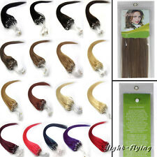 "20""22""24""26"" Micro Loop Ring Remy Straight Human Hair Extensions 9 Colors 100s"