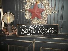BATHROOM WOOD SIGN RUSTIC HANDMADE PRIM WALL DECOR SIGN NEW PAINTED COUNTRY SIGN