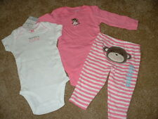 NEW Baby Girl Carters Monkey 3pc Set Clothes Size Newborn 3 6 9 18 24 months NWT