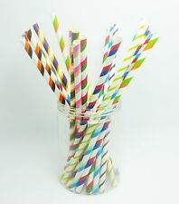 50 PCS Colorful Diagonal Striped Paper Drinking Straws Wedding Birthday Party