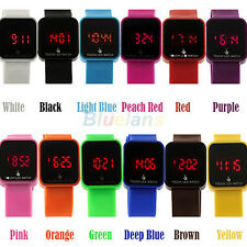 12 Colors Unisex LED Digital Touch Screen Silicone  Wrist watch for Kids B15U