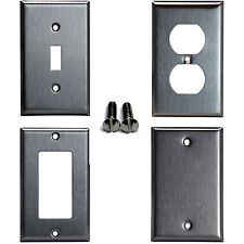 Brushed Stainless Steel Outlet Cover Wall Plate Toggle Duplex Decorator Blank