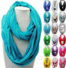 Women/Men 170cm*50cm Solid Soft Touch Infinity Loop Cowl Neck Long Scarf Shawl
