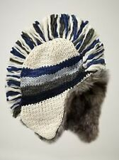 NWT Kid GAP Faux-fur Striped Knit Mohawk Hat Winter Snow Hat NEW Cream Heather