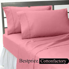 Super Soft Brand New Hotel Rosy Pink Bedding Collection 1200TC 100%Cotton Sheet