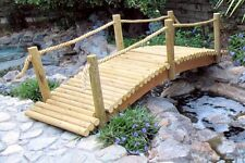 Rustic Decorative Log Garden Bridges With Rope Rails And Low Arch