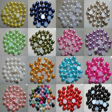 100pcs Half Pearl Round Bead Flat Back 8mm Scrapbook for Craft FlatBack