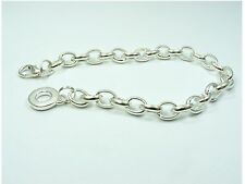 Silver Plated SMOOTH Link Chain BRACELET Ring or Cage Drop fits Clip On Charms