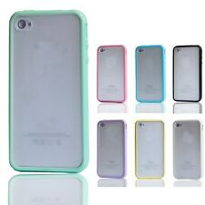 Matte Frosted Clear Back TPU Bumper Frame Case Cover Skin for iPhone 4 G 4Gs 4S