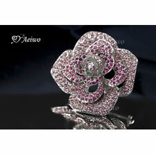 18K WHITE GOLD GP SWAROVSKI CRYSTAL CAMELLIA CLASSIC ELEGANT SIMPLE PIN BROOCH