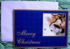 Personalized American Sign Language ASL Holiday Cards - Gold Bells On Blue