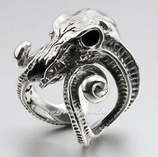 Large Ran Skull Horn Aries 316L Stainless Steel Mens Biker Punk Ring 6R005A
