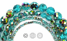 "Czech Glass Fire Polished Round Faceted Beads blue Aqua Vitrail coated 16""strand"