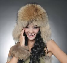 Real fox fur or racccoon fur hat women' cap Russian Ushanka/Cossack  060101