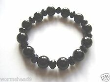 Black glass round pearl & faceted rondelle bead 7 inch stretch bracelet