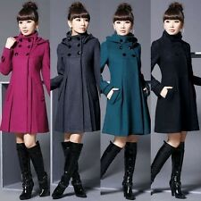 Hot!Women Fashion Wool Cashmere Winter Long Hooded Jacket Coat Outwear