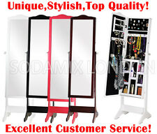 LARGE FREE STANDING BEDROOM MIRROR JEWELLERY BOX CABINET ORGANISER FULL LENGTH