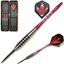 RED PANTHERS TUNGSTEN DARTS SET. Regrooved Stems, Dimplex Flights, Case, 19-25g