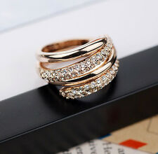 Fashion Women 18K Rose gold GP Crystal Unique Ring Size 6,7,8,9 K02