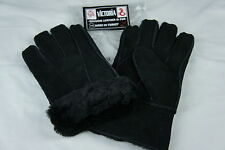 Black 100% Sheepskin Shearling Suede Leather Men Gloves Warm Winter S M L XL 2XL