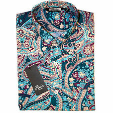 Relco Mens Multi Blue Paisley Long Sleeved Shirt Mod Skin Retro Indie 60s 70s