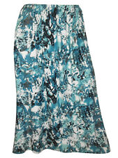 NEW EX CHAINSTORE PLUS SIZE TURQUOISE PRINT FULL LENGTH PULL ON FLARE SKIRT