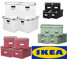 4 x NEW Ikea Kassett CD DVD Game Expedit stackable Storage Organiser boxes + lid
