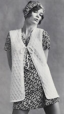 Vintage Knitting Pattern Instructions to Make a Sleeveless Cardigan/Body Warmer