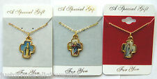 Various Saints Cross Pendant Picture Medal Necklace Gold Plated Religious Gift