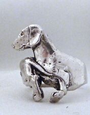 Dachshund Ring Smooth Coated Weiner Dog Doxie Custom Sterling Silver Animal 925