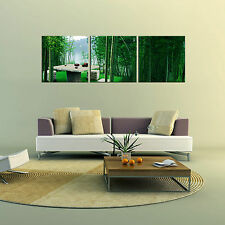 BAMBOO ready to hang triptych wall art print mounted on MDF/Improved canvas arts