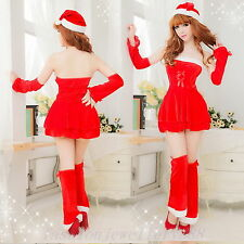 Sexy Women's Party Santa Cosplay Costume Xmas Outfit Lingerie Sets Holiday Dress