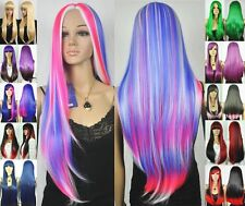 11 color-cute long straight black/purple/green/blue/red/yellow cosplay hair wig