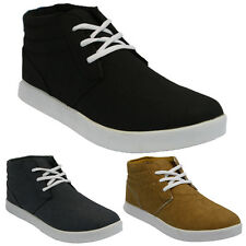 MENS CANVAS WINTER CASUAL LACE UP HI TOP BOOTS ANKLE DESERT TRAINERS SHOES SIZE