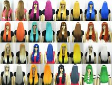 16 color-new cute women's long straight white/yellow/brown/blue/green hair wig