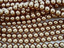 Czech Round Glass Imitation loose Pearls, Brown pearl color, Superior Quality
