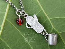 Coffee time necklace - percolator and 3D coffee mug charms, red glass heart