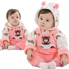 New Winter Baby Girls clothes Coat+pants girls clothing outfits Kids Thick hoody