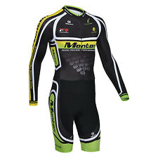Monton Men's Long Sleeve Cycling Skinsuit Outdoor Bike Bicycle Riding Jumpsuits