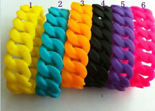 1/5/20pc Candy Color Chunky Chain Link Style Silicone Rubber Wristband Bracelet
