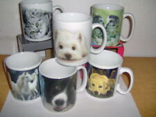 SELECTION OF DRINKING MUGS WITH DOG, HORSE, CAT AND OTHER IMAGES