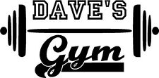 Personalized Gym vinyl wall decal with barbell- fitness workout