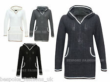 New Womens Cable Knitted Ladies Jumper Dress Sweater With Hood & Kangaroo Pocket