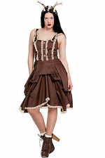 HELL BUNNY Nia Dress Steampunk Brown Bustle Dress with Lace Prom Formal Gothic