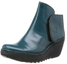 Fly london Yogi Teal Patent Leather New Womens Ankle Wedge Shoes Boots
