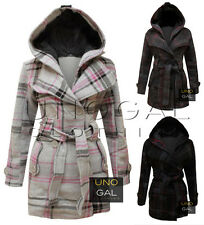 WOMENS BELTED BUTTON CHECK COAT NEW LADIES HOODED JACKET SIZES 8-14