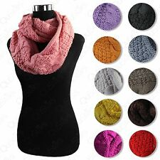 WOMEN'S NEW WINTER FALL NECK WARMER CIRCULAR LOOP KNIT COWL INFINITY SCARF SHAWL